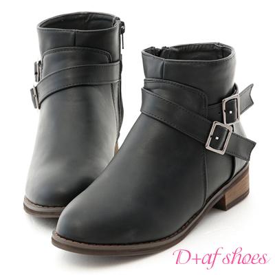 D+AF 百搭潮流.交叉釦帶內增高短靴*黑