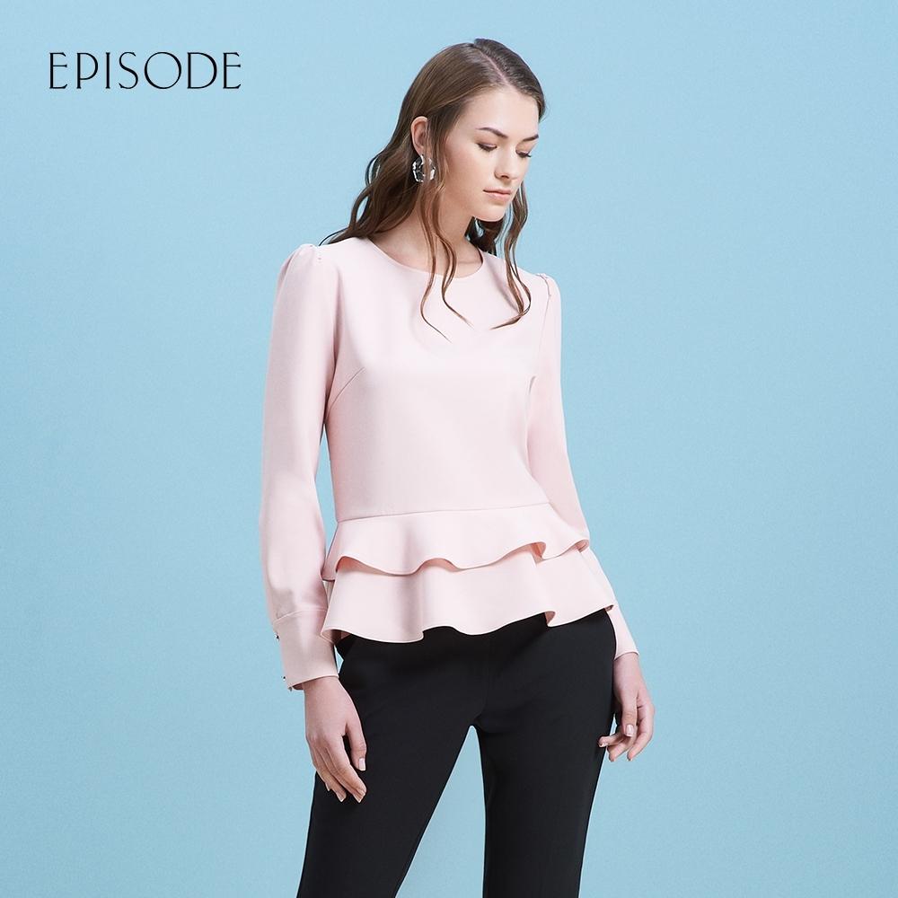 EPISODE - 粉色荷葉邊下擺圓領修身顯瘦長袖上衣