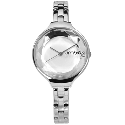 rumba time 紐約品牌 切割玻璃鏡面 日本機芯 不鏽鋼手錶-銀色/30mm
