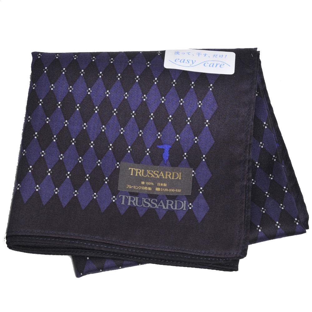 TRUSSARDI 經典品牌圖騰LOGO菱格紋帕領巾(深紫系) @ Y!購物