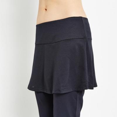 【V.TEAM】休閒彈力修身韻律長褲裙-黑