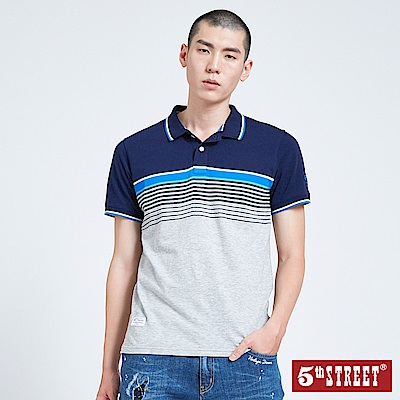5th STREET 配色條紋POLO衫-男-丈青