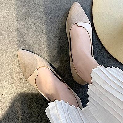 韓國KW美鞋館 經典優雅女伶拼接造型平底鞋-杏色