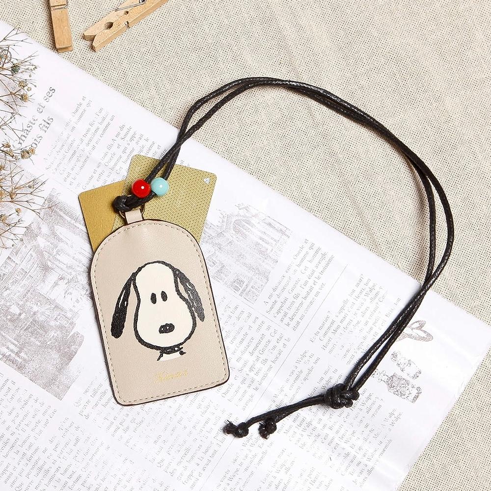 KINAZ SNOOPY史努比聯名款 彩珠裝飾頸掛証件卡夾-輕甜奶油杏-Friends氧氣小物系列