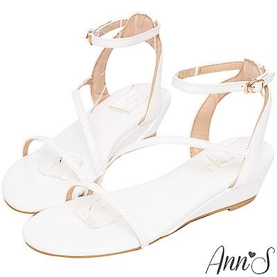 Ann'S神級長腿細帶坡跟涼鞋-白