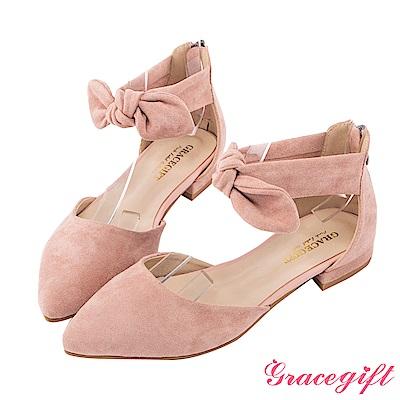 Grace gift-蝴蝶結繫帶後拉鍊低跟鞋 粉