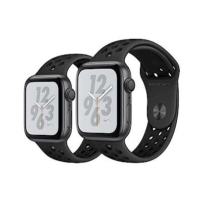 [無卡分期-12期]AppleWatch S4 Nike 44mmGPS版灰鋁金屬錶黑錶帶