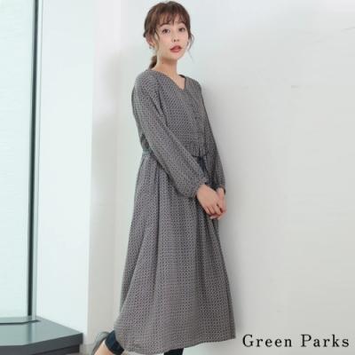 Green Parks 幾何圖案V領鈕扣綁帶洋裝