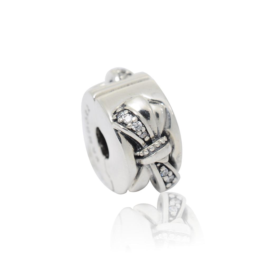 Pandora 潘朵拉 閃耀蝴蝶結鑲鋯 夾扣式純銀墜飾 串珠