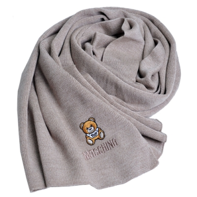 MOSCHINO 義大利製羊毛小熊TOY圖騰字母LOGO刺繡素面針織圍巾(卡其色)