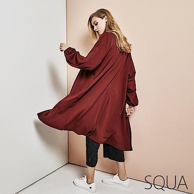 SQUA縮口袖長版針織外套-二色