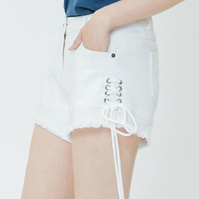 H:CONNECT 韓國品牌 女裝-抽繩造型不收邊短褲-白