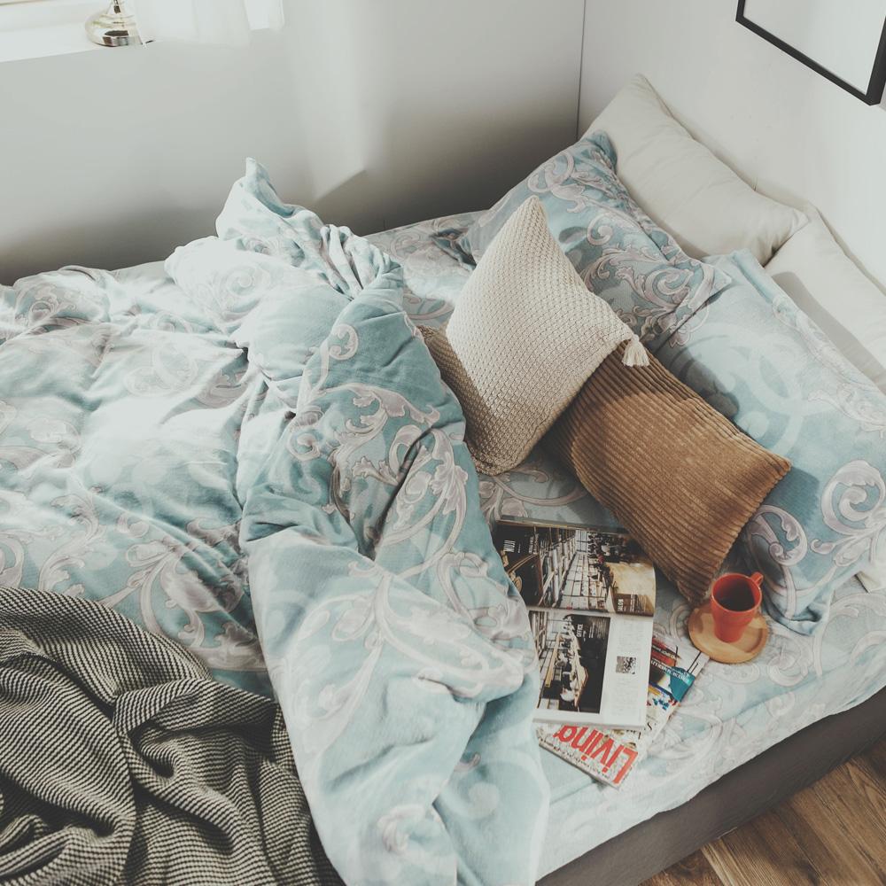 絲薇諾 芳菲 加大四件式-法蘭絨 抗靜電鋪棉床包被套組