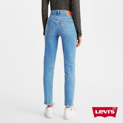 Levis 女款 501 Skinny 高腰排釦緊身牛仔褲 淺藍石洗 心機雕飾線 彈性布料