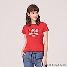 GIORDANO 女裝棉質圓領標語印花T恤-   35 高貴紅
