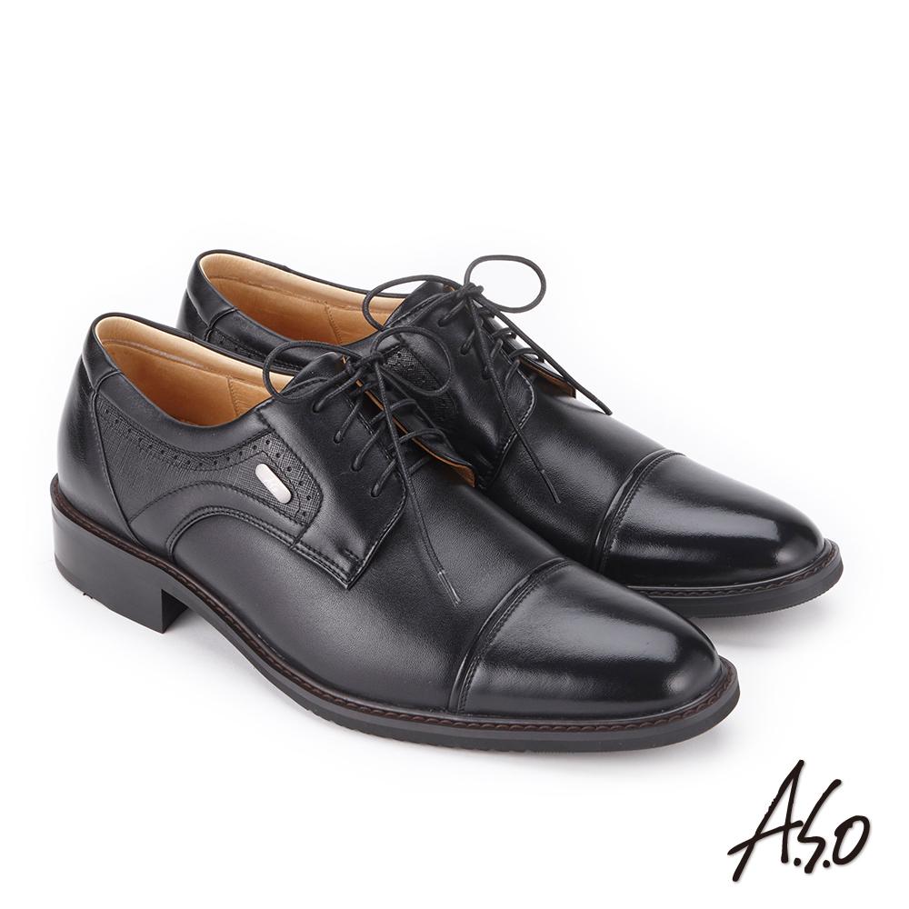 A.S.O 勁步雙核心 綁帶牛皮奈米紳士鞋 黑