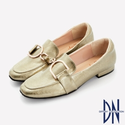 DN樂福鞋_MIT幾何金屬飾扣爆裂紋平底樂福鞋-金