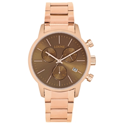 LOVME 城市獵人不鏽鋼三眼時尚手錶-IP玫x灰/43mm