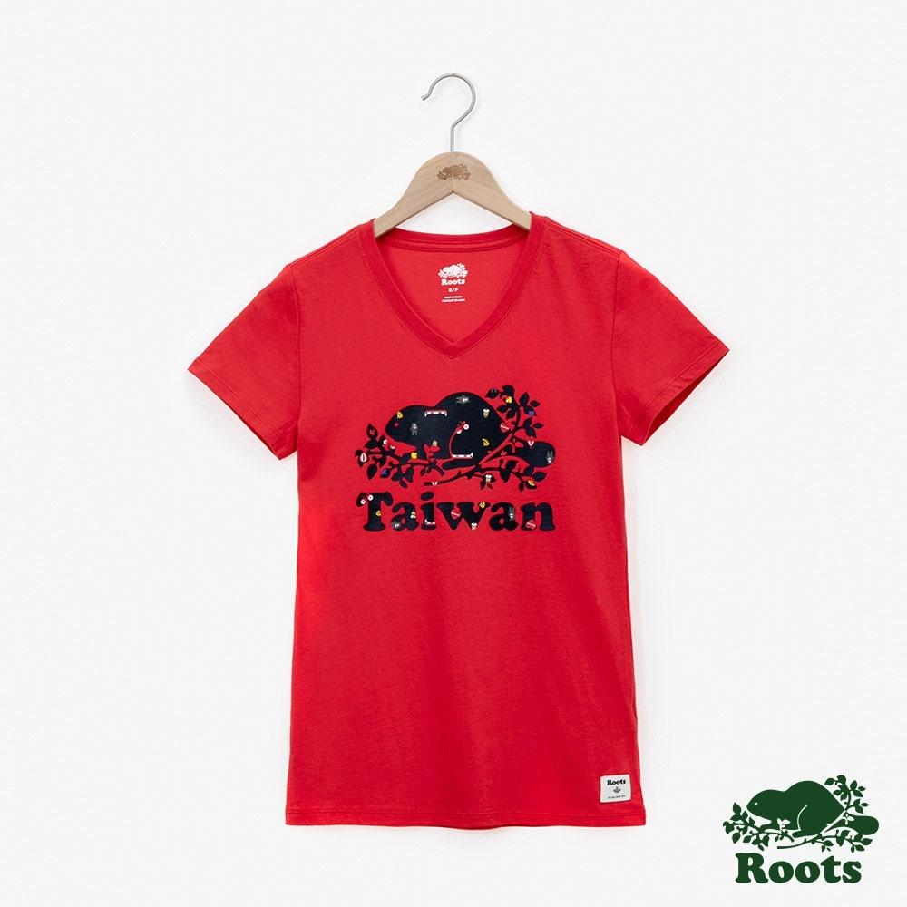 女裝ROOTS- 台灣國慶V領短袖T恤-紅色