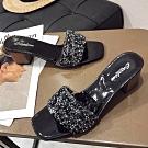 KEITH-WILL時尚鞋館 名媛愜意舒適粗跟拖鞋 黑