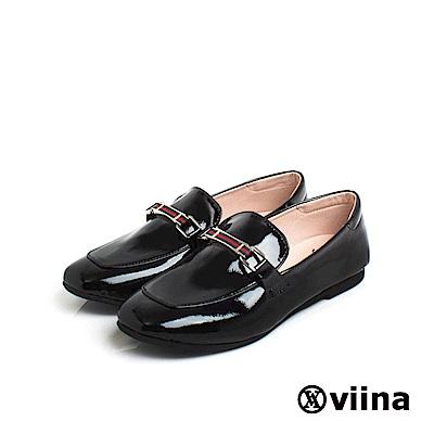 viina Basic 鏡面織帶樂福鞋 - 黑