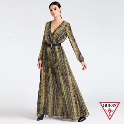 GUESS-女裝-蛇紋長袖V領連身百褶長裙-綠