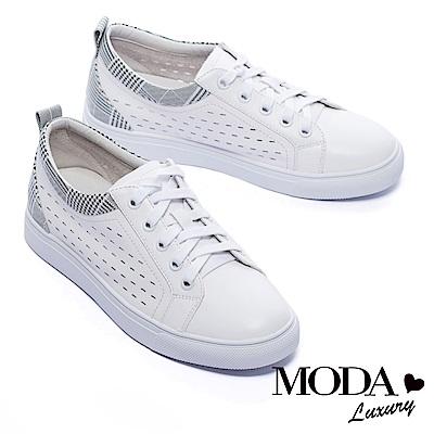 休閒鞋-MODA-Luxury-簡約線條沖孔拼接設