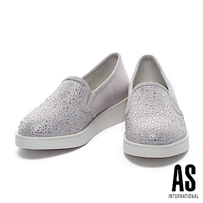 休閒鞋 AS 奢華時尚晶鑽造型全真皮厚底休閒鞋-銀