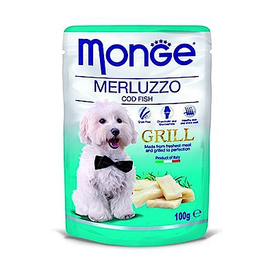 Monge Grill炙燒無穀主食肉塊鮮食包(狗用) 100g - 鱈魚X24包入