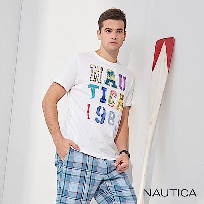 Nautica 夏威夷風圖騰短袖T恤-白