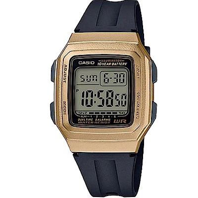 CASIO 復古方形十年電力設計電子腕錶(F-201WAM-9A)金框/41mm