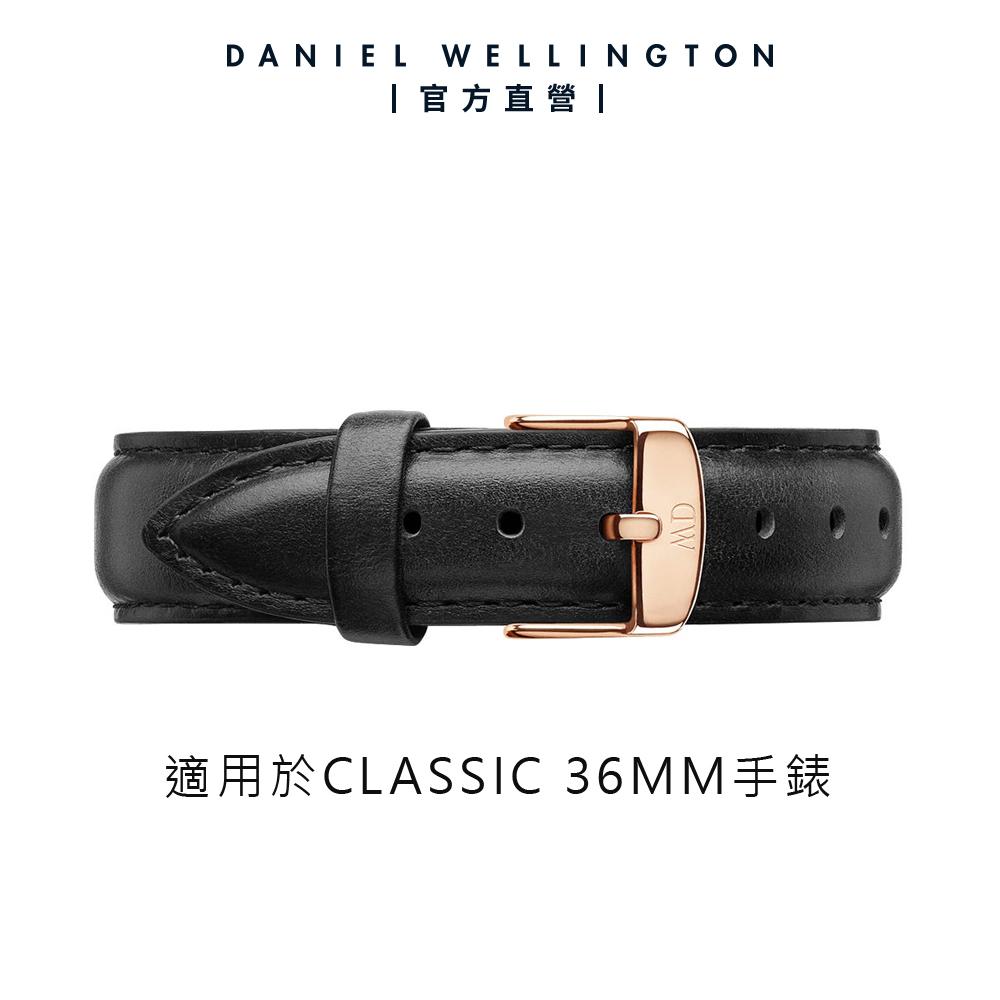 【Daniel Wellington】官方直營 Classic Sheffield 18mm爵士黑真皮錶帶-玫瑰金 DW錶帶