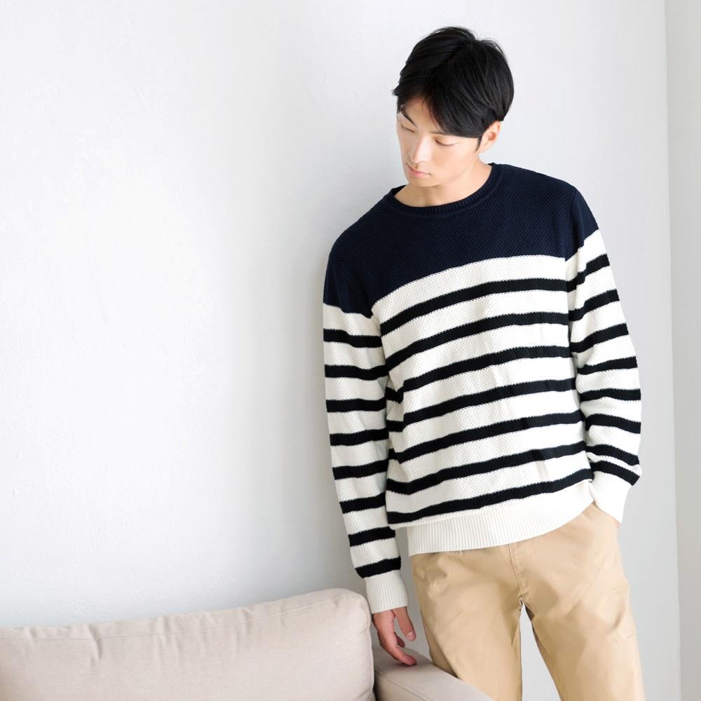 撞色橫條紋高含棉長袖針織衫-OB大尺碼