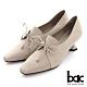 【bac】摩登特殊鞋跟深口綁帶高跟鞋-米灰 product thumbnail 1