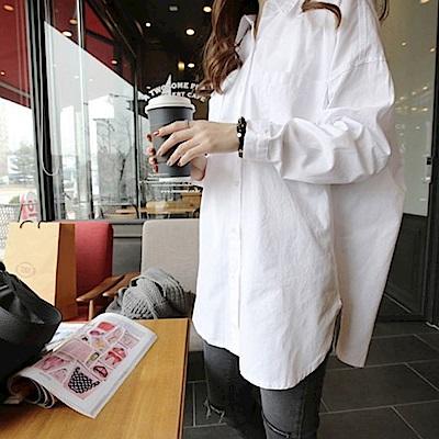 La Belleza白色單口袋素面前短後長寬鬆長版襯衫