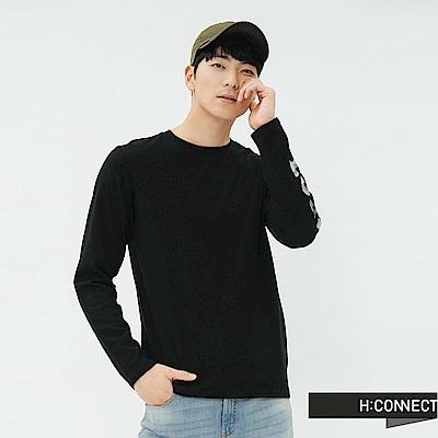 H:CONNECT 韓國品牌 男裝-單袖印花上衣-黑
