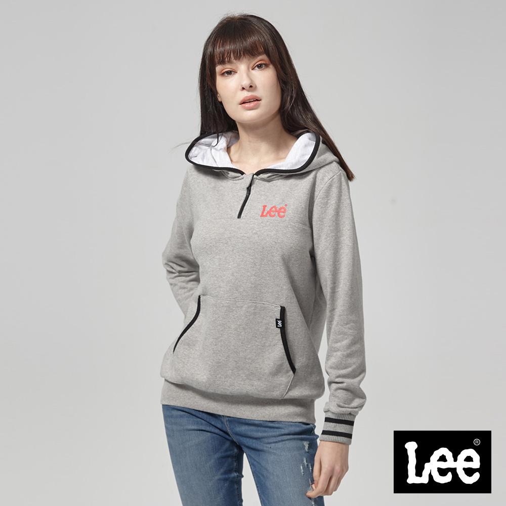 Lee 長版大LOGO長袖連帽TEE恤/RG