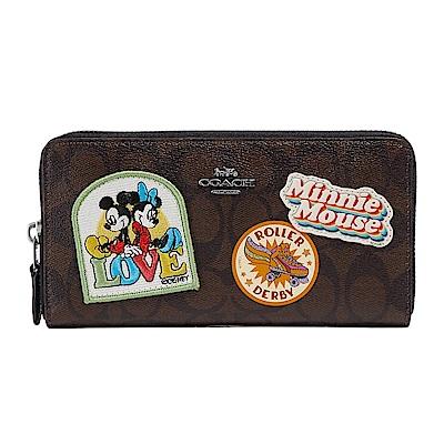 COACH X Disney聯名款MICKEY米奇米妮 LOGO拉鍊長夾 黑X深棕