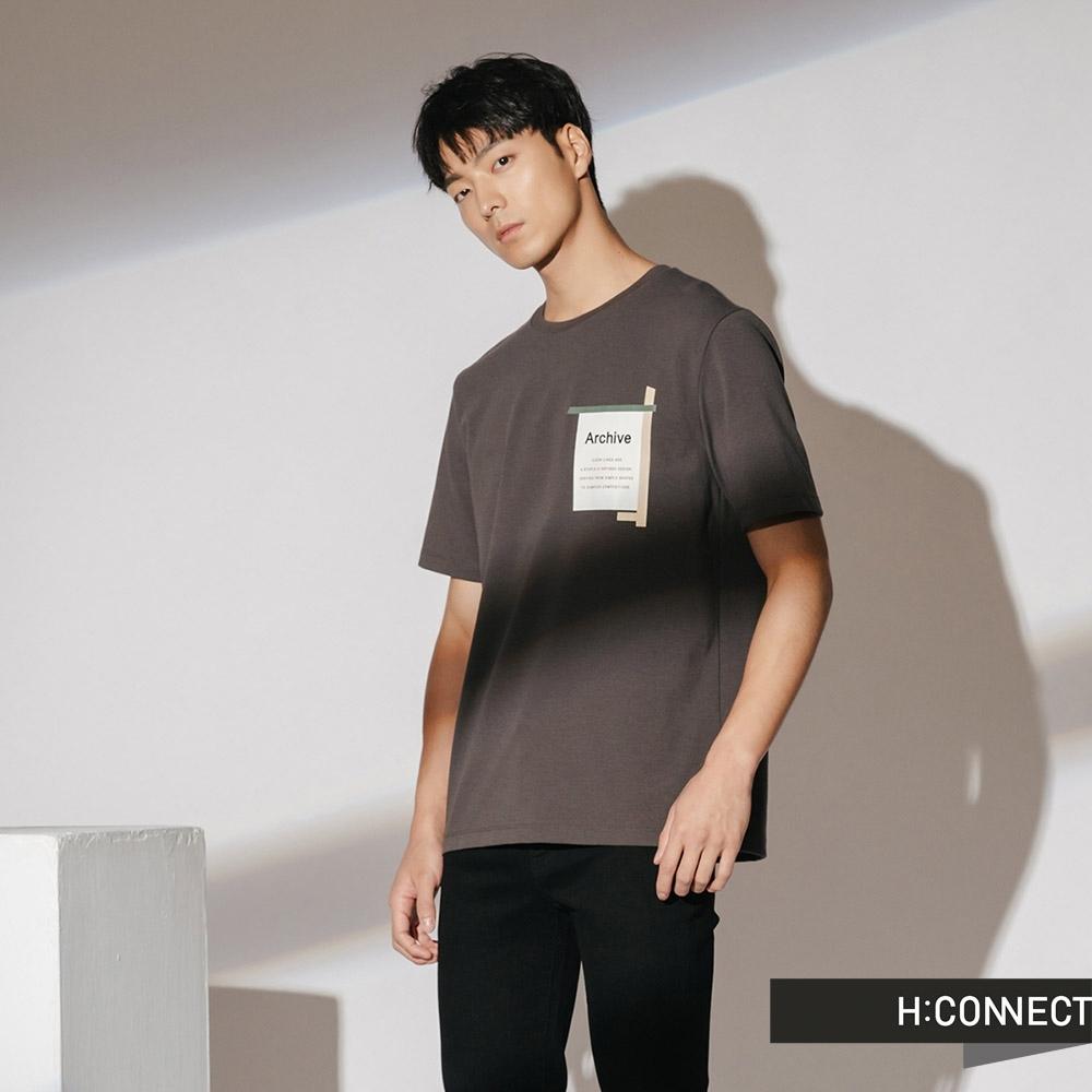 H:CONNECT 韓國品牌 男裝-簡單色塊標語短T-灰