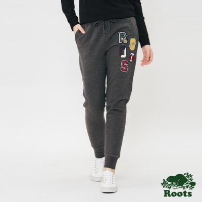 ROOTS女裝 周年系列貼布縮口刷毛休閒棉褲-灰色