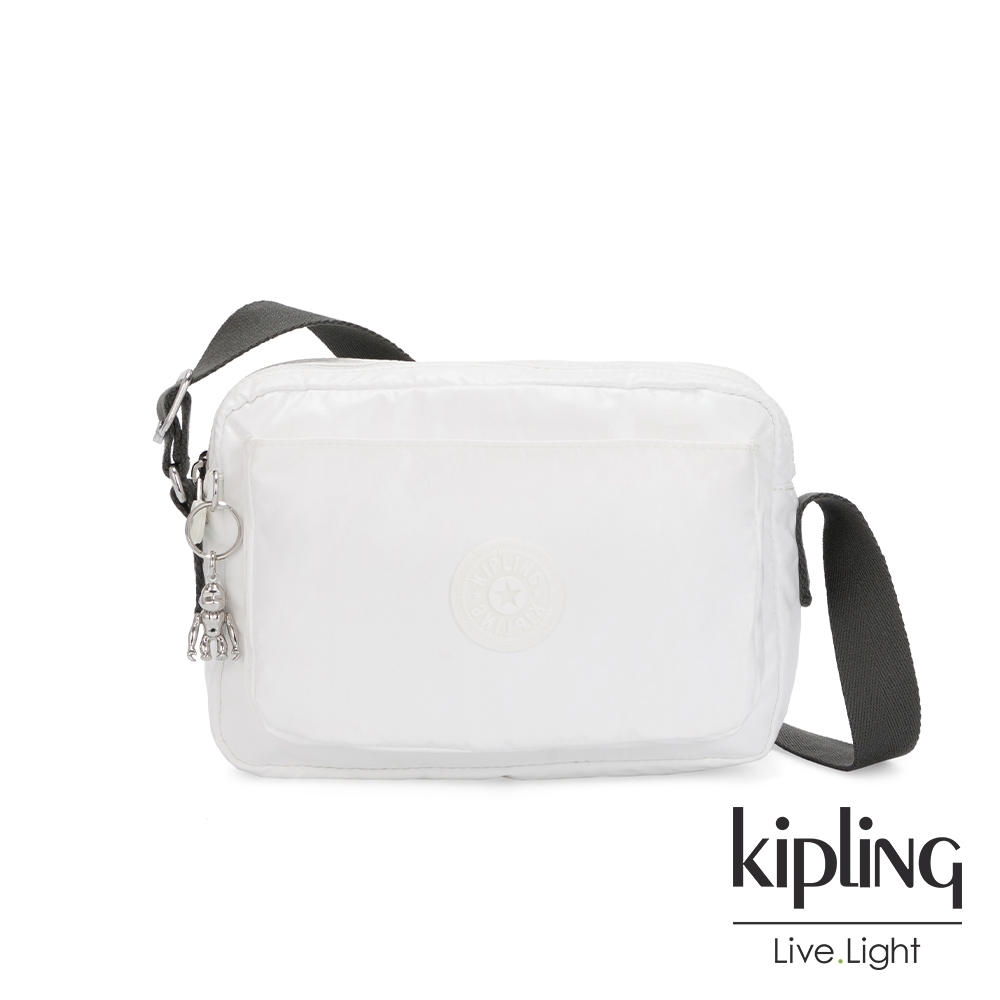 Kipling 時尚極簡白多層隨身斜背包-ABANU M