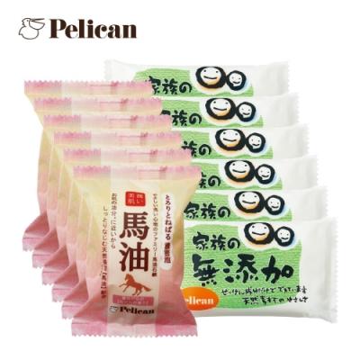 Pelican 馬油潤澤美膚皂80gx6入+敏感肌及孩童無添加皂100gx6入