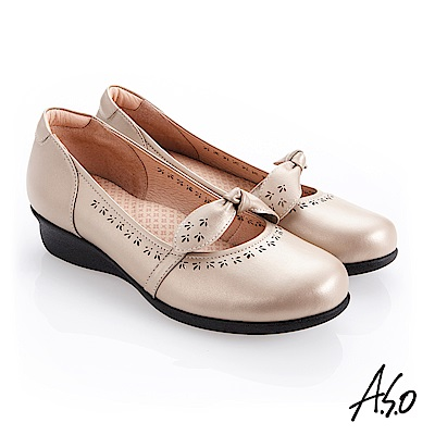 A.S.O 職場通勤 圓楦低底台紓壓氣墊鞋 卡其