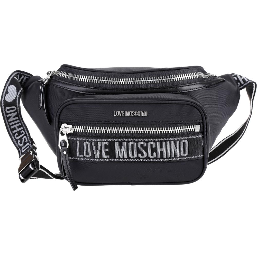 LOVE MOSCHINO 字母織帶尼龍肩背包/腰包(黑色)
