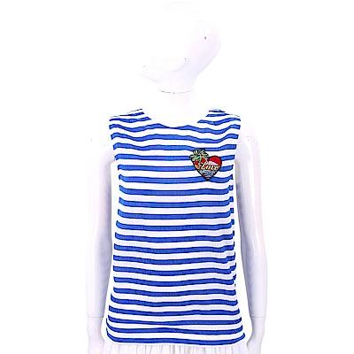 LOVE MOSCHINO 愛心刺繡補丁貼藍白條紋背心