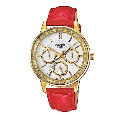 CASIO奢華迷人閃亮金蔥框造型指針皮帶腕錶(LTP-2087GL-4)/紅x金30mm