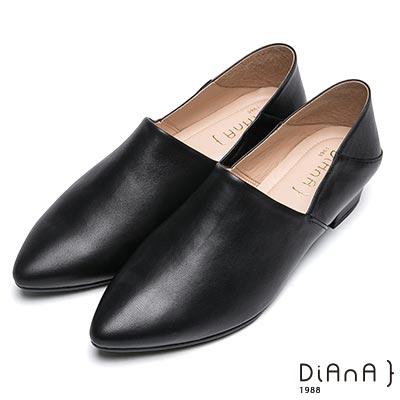 DIANA 簡約時尚-素色兩穿2way羊皮樂福鞋-黑