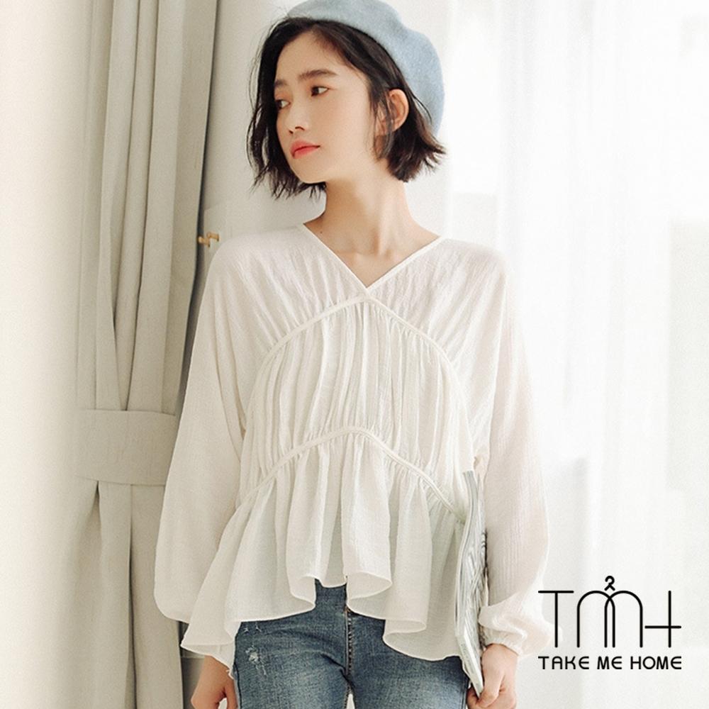 法式氣質雪紡上衣-2色-TMH