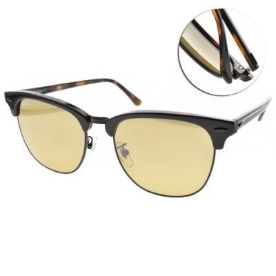 RAY BAN太陽眼鏡 復古潮流眉框款/黑棕-黃#RB3016F 12773K