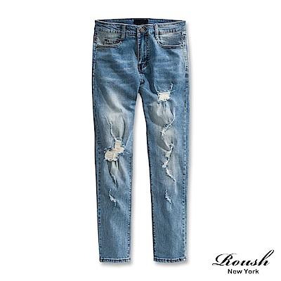 Roush 破壞抽鬚補丁牛仔褲